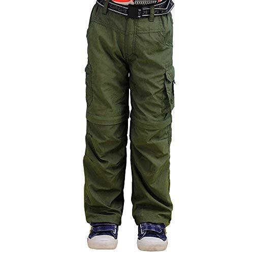 GITVIENAR Kinder Cargohose Schnelltrocknende Jogginghose, Zipp-Off Kurze Atmungssktive Wanderhose, Outdoor Funktionshose für Jungen Mädchen (Grün, M)