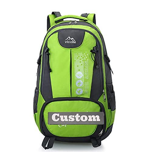 Mochila Personalizada de Personal Personalizada de Personal Personalizado para Mujeres Viajes y Camping (Color : Green, Size : One Size)