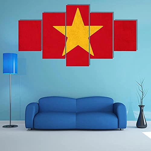 Leinwand Malerei Wandkunst Modulare Bilder Vietnam-Flagge 5-teilig modernes Gerahmtes Kunstwerk, HD Druck Poster Home Dekorative