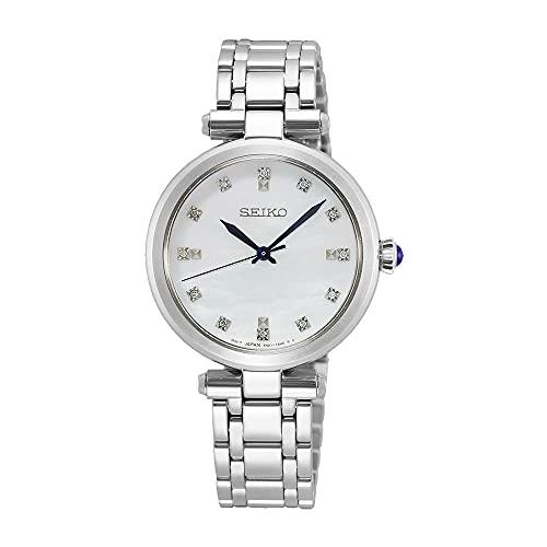 SEIKO Reloj para Mujer Analógico Cuarzo japonés con Correa de Acero Inoxidable Ladies Cuarzo 12 Diamantes MOP