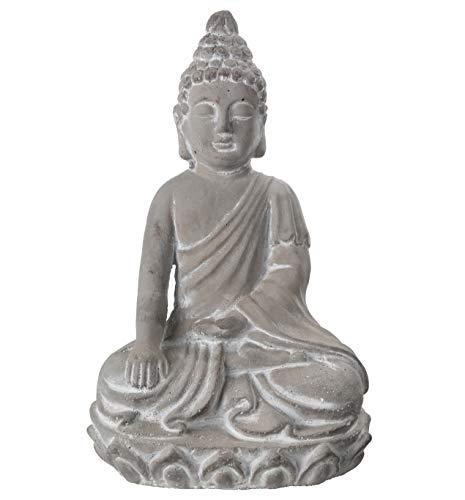 Benjara Kneeled Cement Buddha Figurine Meditating in Varada Mudra Position, Gray