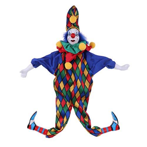 SM SunniMix 41cm Adorable Payaso Hombre Muñeca con Ropa Azul Regalo de Adorno de Halloween