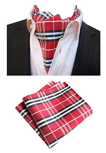 MOHSLEE Herren Seidenanzug Rotweinrot Paisley Ascot gewebte Krawatten Krawatten Einstecktuch Set - Rot - Einheitsgröße