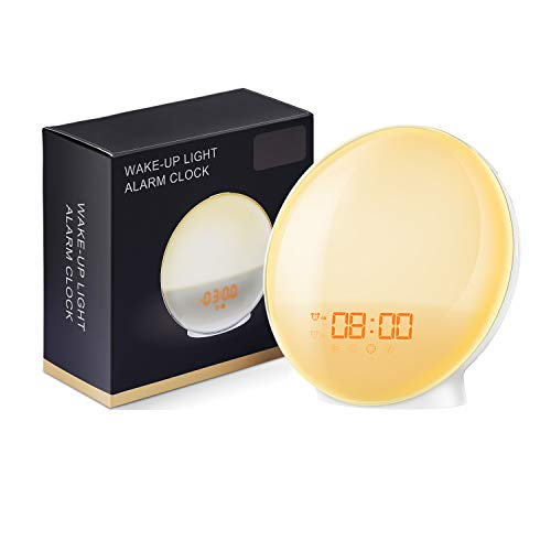AMIR New Wake-Up light Sunrise Alarm Clock, 7 Colors Mood Atmosphere Lamp, Dual Alarms Bedside...