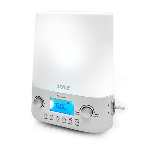 Pyle Bluetooth Radio Alarm Clock - Built-in Speakers Time Date Display LED Light Lamp Sunrise Sunset Deep Sleep, Relaxation, Meditation Includes Power Adapter - PILCR34BT_0