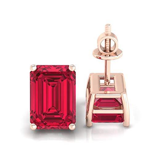 Diamondrensu 1.90 CTW Emerald Cut Lab Garnet Stud Earrings, Wedding Earrings, Basket Setting, Screw Back Earrings, Emerald Red Garnet Studs, Bridal, 14K Rose Gold