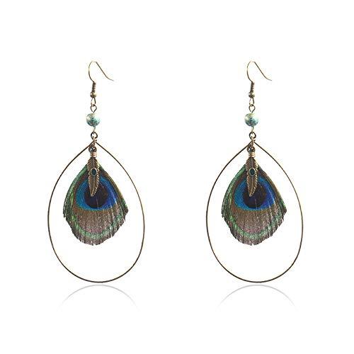 Bohemia Pendientes de plumas de pavo real natural para mujer Personalidad Pendiente de gota de agua Joyería moderna Pendientes étnicos huecos-Q