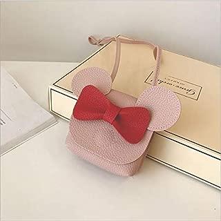 Fashion Single-Shoulder Bags 3 PCS Mini Children Bowknot Handbag for Girls Cartoon PU Leather Shoulder Bag(Yellow) (Color : Pink)