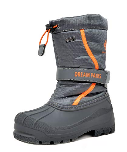 DREAM PAIRS Big Kid Kamick Grey Mid Calf Waterproof Winter Snow Boots Size 4 M US Big Kid