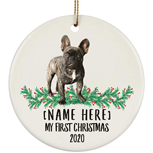 Lovesout Funny Personalized Name French Bulldog Brindle First Christmas 2020 White Ceramic Circle Ornament