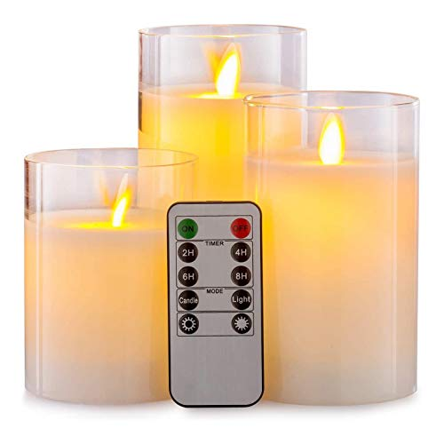 Tuneway Remote Flameless Candle Pillar Real Wax Electric LED Glass Candle Set with Control Timer, 4 Inch 5 Inch 6 Inch Pack