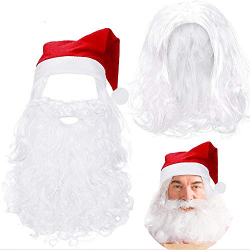 Christmas Wig Set Santa Claus Wig White Long Santa Beard and Christmas Hat for Christmas Party Costume