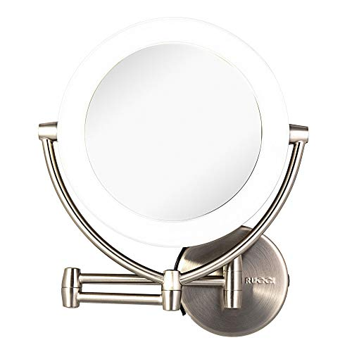 "Wall Mount LED Lighted Makeup Mirror, AC Adapter, Battery Operated, 1x/10 Magnification, 3 Touch Tones 17.5"" Extended by Rucci"