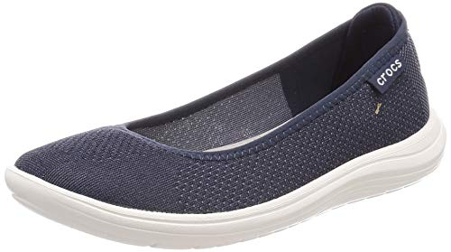 crocs Damen Flat Reviva, Flacher Schuh, Marineblau/weiß, 42 EU