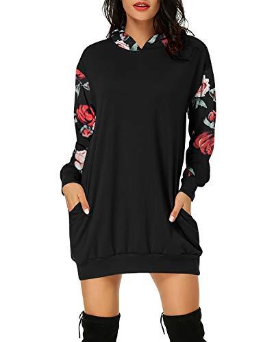 Auxo Damen Hoodie Langarm Blumen Kapuzenpullover Casual Sweatshirts Tops Herbst Mini Kleid 04-Schwarz XL