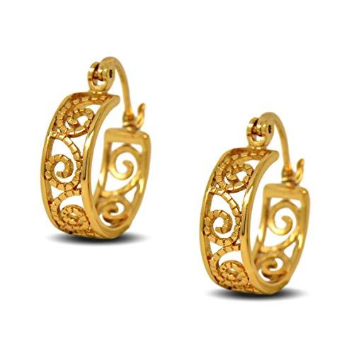 Blue Diamond Club - 18ct Gold Filled Small Filigree Hoop Earrings for Women 17mm