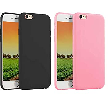 2 Pack Compatible with iPhone 6 Plus / 6s Plus 5.5-Inch Case,Thin Slim Fit Soft TPU Bumper Shell Anti-Scratch Resistant Shockproof Protective Mobile Phone Cover for Girls Women Man Boys,Black+Pink