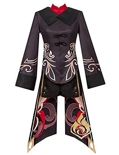Genshin Impact Hu Tao Cosplay Disfraz de mujer estilo chino vestido Halloween Navidad Cosplay conjunto completo para nias-marrn_XXL