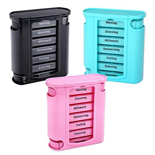 Schramm® 3 stuks tablettenbox, roze, zwart en turquoise, pillendoosje, tablettendoos, pillendoosje, pillendoosje