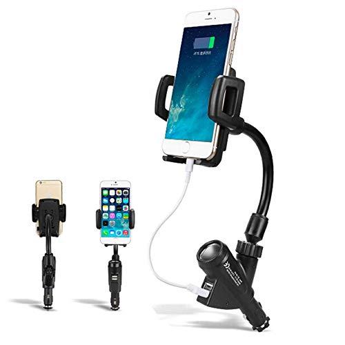デュアルUsb充電器ソケットとシガーライター、360°回転ボールジョイント、ほとんどのスマートフォンと互換性のある3 in 1多機能車のスマートフォンマウント