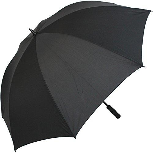 iX-brella Leichter Voll-Fiberglas- Regenschirm für 2 Personen - Größe XXL - sehr stabil - Golfschirm (schwarz)