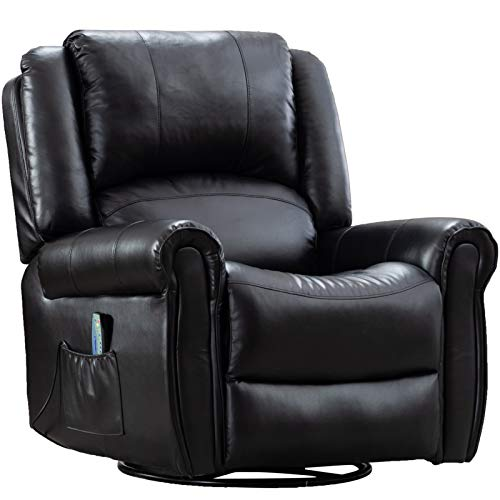 Pongsona Massage Recliner Chair with Heat Ergonomic Rocker Recliner Lounge Chair,PU Leather 360 Degree Swivel Widened Reclining Sofa for Livig Room,with Side Pocket and Remote Control.(Black)
