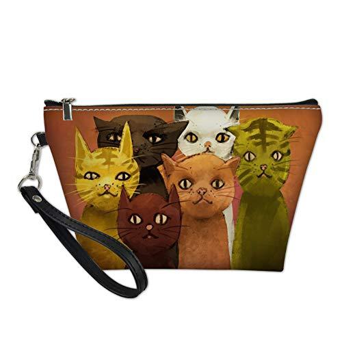 Woisttop Coloridos gatos mujeres bolsas de cosméticos para viajes a granel maquillaje bolsa de embrague cosmética artículos de tocador organizador bolsa paquete regalos de Navidad
