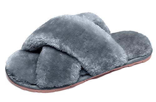 Slippers for Women, Comfy Soft Plush Furry House Slippers Non Slip Open Toe Bedroom Slippers Criss Cross Furry Slides Indoor Outdoor Grey 9-10
