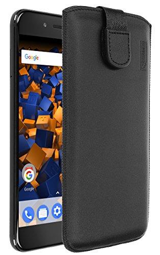 mumbi Echt Ledertasche kompatibel mit Xiaomi Mi A1 Hülle Leder Tasche Hülle Wallet, schwarz