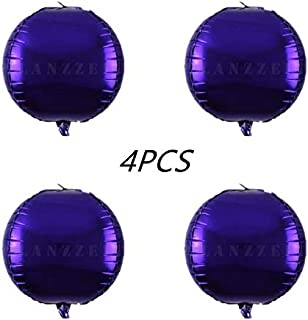 Glanzzeit 4D Balloons All Round Foil Balloons Bride Baby Shower Wedding Birthday Party Prom Helium Balloons Decoration, Pack of 4 (Purple)