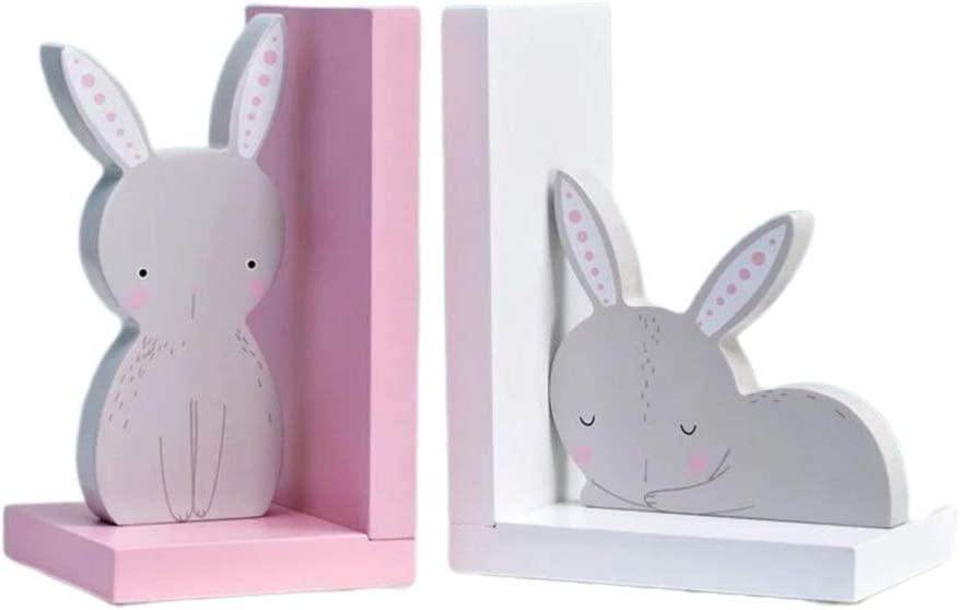 WINOMO Bunny Bookends Rabbit Wooden Los Angeles Mall Max 86% OFF Book Wood Stoppers