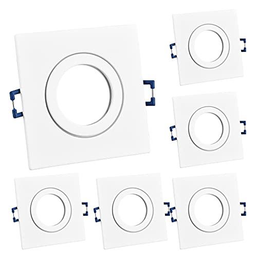 KYOTECH faretti da incasso quadrati GU10 Cornice Faretto Incasso IP44 6 pezzi Per GU10, alogeno e MR16, Faretti led da incasso per cartongesso incl. portalampada GU10 (Verniciata bianca opaca)