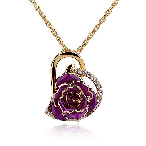 zjchao Collar en Forma corazón con Rosa eterna chapada de Oro de 24K