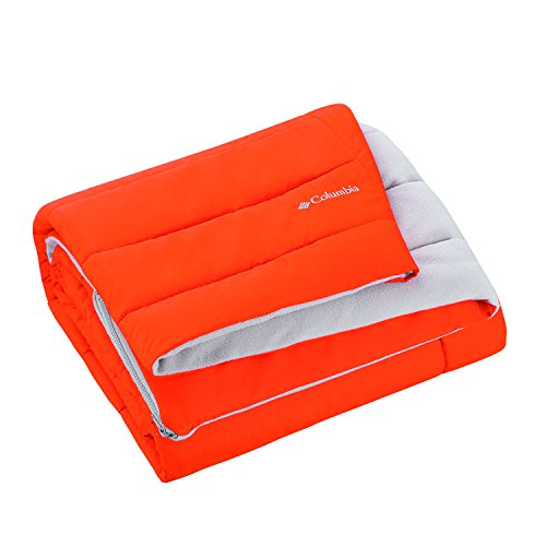"""Columbia Sportswear Indoor-Outdoor Warm & Cozy Soft Fleece Throw Blanket – Zippered Pocket – Water Repellent Fabric & Carry Storage Bag – 50"""" x 60"""" - Orange-Gray"""