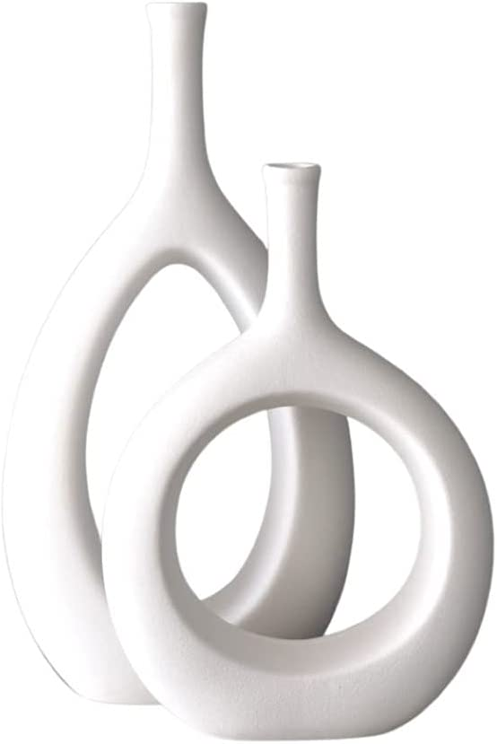 H-Wares Modern Ceramic Vases 2 set White Oval Vase and Circle Vase for Nordic Decor. Use these Geometric Modern Abstract Minimalist Vases for Centerpieces in Kitchen, Living Room, Dining Room. (White)