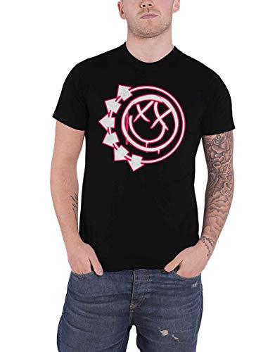 Blink 182 Camiseta masculina oficial com logotipo da banda Six Arrow Smiley preta, Preto, G