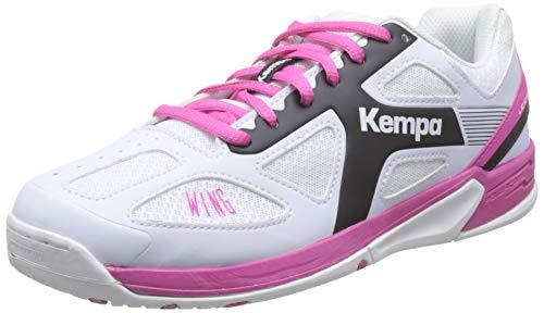 Kempa Unisex-Kinder 200849505 Wing JUNIOR Handballschuhe, Weiß (White/Black/Pink), 32 EU