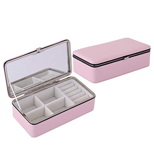 LYsng Caja para Joyas Grande Cajas Y Organizadores De Joyas Creativa Joyero Viaje Mujer para Anillos Aretes Pendientes Pulseras Collares NiñA Expositor Viaje Pink with Mirror