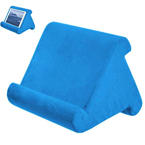 Foldable Tablet Soft Pillow Lap Holder Stand Book Rest Reading Support Cushion For iPad, Foldable Triangular, Used On Bed, Desk, Car, Sofa, Lap, Floor, Couch, Multi-Angle Soft Pillow Blue
