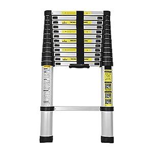 wolketon 3,8M Escalera Telescópica de Aluminio, Carga 150kg Escalera Extensible Multifuncional Portátil, Extensión telescópica 13 Escalones Antideslizantes