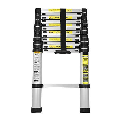 wolketon 2,6M Escalera Telescópica de Aluminio, Carga 150kg Escalera Extensible Multifuncional Portátil, Extensión telescópica 9 Escalones Antideslizantes