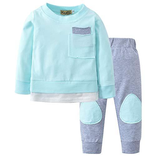 PPangUDing Neugeborene Baby Jungen Mädchen Bekleidungsset Mode Langarm Einfarbig Pullover Sweatshirt Tops + Lange Hosen Bequemer Warm Unisex 2pcs Babykleidung Kleidungs Set (6M,Blau)