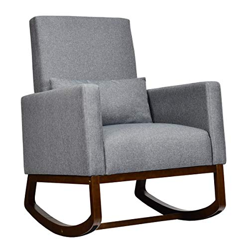 Giantex Upholstered Rocking Chair, Modern High Back Armchair, Comfortable Rocker with Fabric Padded Seat, Waist Pillow and Wood Base Accent Chair for Nursery, Living Room, Bedroom, Office, Gray