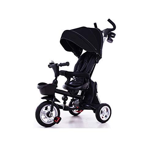 Kinder Dreirad Fahrrad Baby 1-3-5 Jahre alt Trolley selbstfahrender Kinderwagen-black