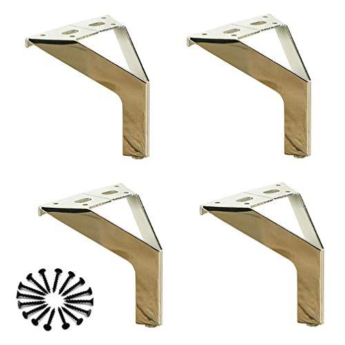 4 x meubelpoten, industrie, sofapoten, kan worden gebruikt voor kasten, banken, voetenborden, om zelf te maken, zilver (150 mm)