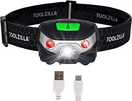 TOOLZILLA Linterna frontal LED recargable por USB (para running, acampada, bricolaje, pesca y senderismo)