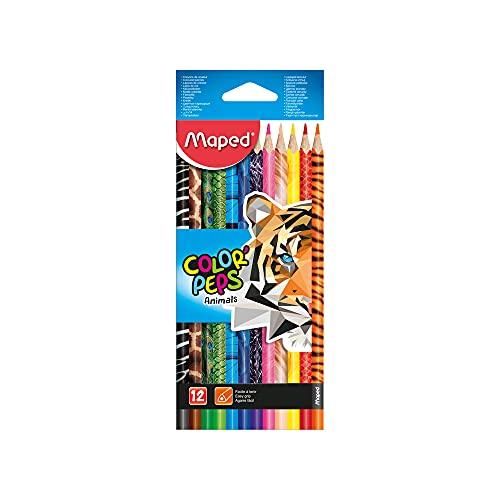 Maped - Crayons de Couleur ColorPeps Animals FSC - Crayon de Coloriage Triangulaire Ergonomique - Crayons Décorés Animaux - Pochette de 12 Crayons en Bois Certifiés FSC