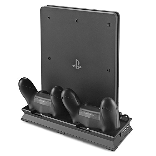 PS4 Slim Vertical Stand Cooling Fan with Dual USB Charger Ports 2 in 1 Dual Use with Cooling and Charging System