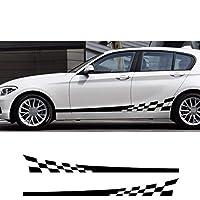 2PCSカーステッカーストリークチェック柄オートロングストライプスタイリングデカールビニールフィルムサイドボディステッカーデコレーションステッカー