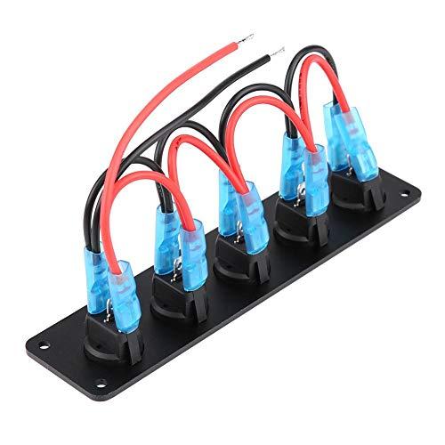 Fydun Panel de Interruptor Basculante de 5 bandas, Panel de interruptor de palanca Impermeable Indicador Led Azul IP67 para Coche RV Barco Yate Marino